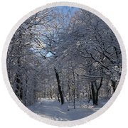 Snowy Trail Round Beach Towel