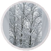 Snowy Tree Limb Maze II Round Beach Towel