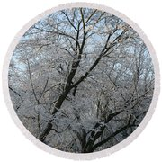 Snowcovered Trees Round Beach Towel