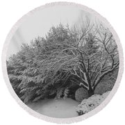 Snowy Trees In Black And White Round Beach Towel