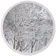 Snowy Trees In Winter Park Round Beach Towel