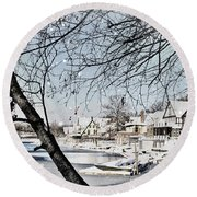 Snowy View Of Boathouserow Round Beach Towel