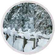 Snowy Wagner's Bridge Round Beach Towel