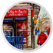 Snowy Walk By The Tea Room And Pastry Shop Winter Street Montreal Art Carole Spandau  Round Beach Towel