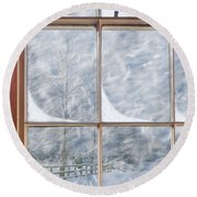 Snowy Window Round Beach Towel