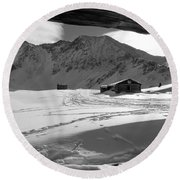 Snowy Window View Round Beach Towel