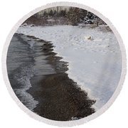 Snowy Winter Beach Patterns - Lake Ontario Toronto Canada Round Beach Towel