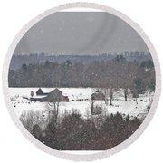 Snowy Winter Farmscape Round Beach Towel