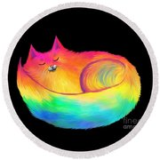 Snuggle Cat Round Beach Towel