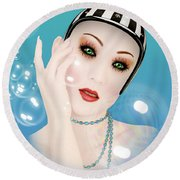 Soap Bubble Woman  Round Beach Towel