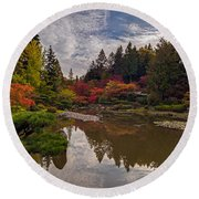 Soaring Autumn Colors In The Japanese Garden Round Beach Towel