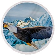 Soaring Bald Eagle Round Beach Towel by Gary Keesler