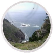 Soaring Over The Cliffs Round Beach Towel