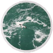 Soaring Over The Falls Waters Round Beach Towel