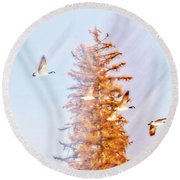 Soaring To New Heights Round Beach Towel