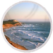 Socal Coastline Sunset Round Beach Towel