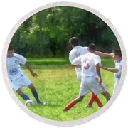 Soccer Ball In Play Round Beach Towel