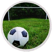 Soccer Ball On Field Round Beach Towel