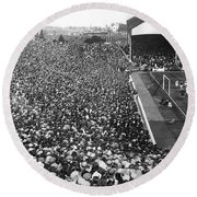 Soccer Crowd At Highbury Round Beach Towel