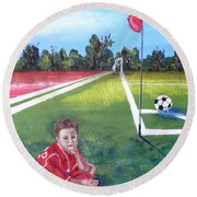 Soccer Field Round Beach Towel