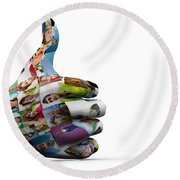 Social Media People Painted Hand In Ok Sign Round Beach Towel