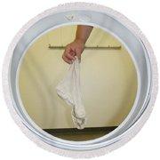 Sock In The Washing Machine Round Beach Towel