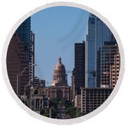 So Co View Of The Texas Capitol Round Beach Towel