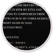 Socrates Quote In Negative Round Beach Towel