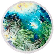 Sodium Thiosulphate Microcrystals Color Abstract Round Beach Towel
