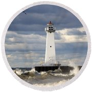 Sodus Outer Lighthouse On Stormy Lake Round Beach Towel