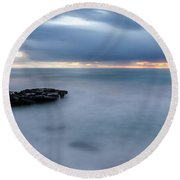Soft Blue And Wide Round Beach Towel