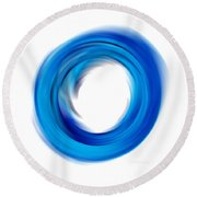 Soft Blue Enso - Abstract Art By Sharon Cummings Round Beach Towel