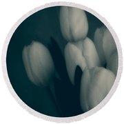 Soft Blue Tulips Round Beach Towel