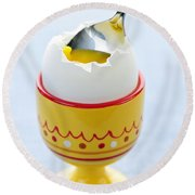 Soft Boiled Egg In Cup Round Beach Towel by Elena Elisseeva