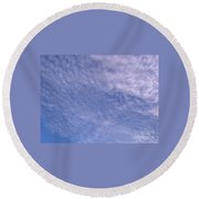 Soft Clouds Blue Sky Round Beach Towel