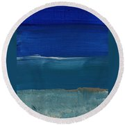 Soft Crashing Waves- Abstract Landscape Round Beach Towel