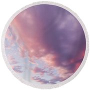 Soft Diffused Colourful Sunset Background Texture Round Beach Towel