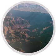 Soft Early Morning Light Over The Grand Canyon Round Beach Towel