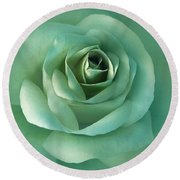 Soft Emerald Green Rose Flower Round Beach Towel by Jennie Marie Schell