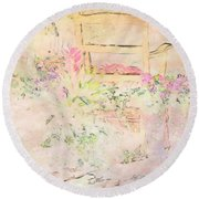 Soft Floral Pastels Round Beach Towel