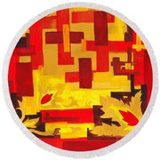 Soft Geometrics Abstract In Red And Yellow Impression I Round Beach Towel