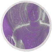 Soft Glow Purple Buddha Round Beach Towel by Sally Rockefeller