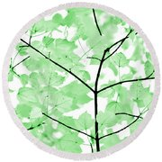 Soft Green Leaves Melody Round Beach Towel