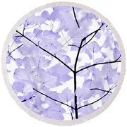 Soft Lavender Leaves Melody Round Beach Towel