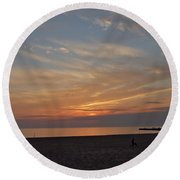 Soft Orange Sunset Round Beach Towel