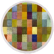 Soft Palette Rustic Wood Series With Stripes 2x3 Round Beach Towel by Michelle Calkins