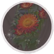 Soft Pastel Abstract Strawflowers Art Prints Round Beach Towel