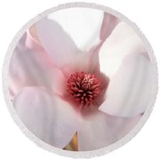 Soft Pink Saucer Magnolia Round Beach Towel