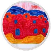 Soft Pueblo Original Painting Round Beach Towel