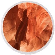Soft Sculpted Sandstone Walls Round Beach Towel by Adam Jewell